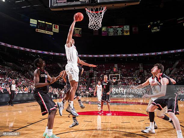 Jahlil Okafor of the USA Team dunks the ball against the World Team on April 12 2014 at the Moda Center Arena in Portland Oregon NOTE TO USER User...