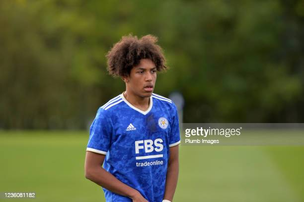 Jahmari Lindsay of Leicester City during the Leicester City v Arsenal: U18 Premier League match at Seagrave on October 23, 2021 in Seagrave, United...
