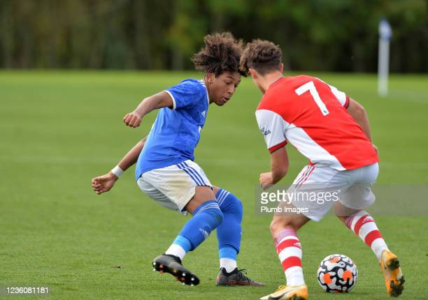 Jahmari Lindsay of Leicester City with James Sweet of Arsenal during the Leicester City v Arsenal: U18 Premier League match at Seagrave on October...