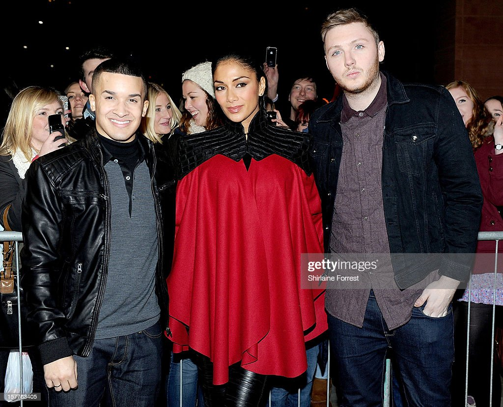 Jahmene Douglas, Nicole Scherzinger and James Arthur attend a press conference ahead of the X Factor final this weekend at Manchester Conference Centre on December 6, 2012 in Manchester, England.