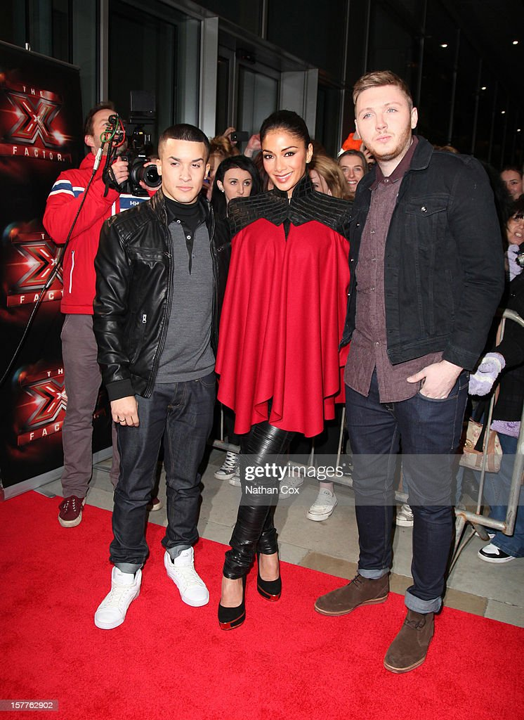 Jahmene Douglas, Nicole Scherzinger and James Arthur attends a press conference ahead of the X Factor final this weekend at Manchester Conference Centre on December 6, 2012 in Manchester, England.