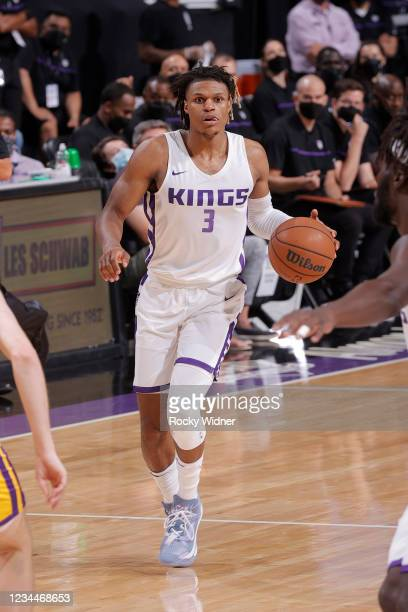 Jahmius Ramsey of the Sacramento Kings dribbles the ball against the Los Angeles Lakers during the 2021 California Classic Summer League on August 4,...