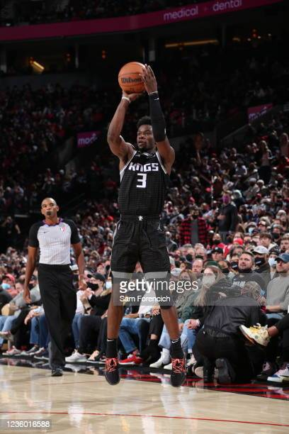 Jahmi'us Ramsey of the Sacramento Kings shoots the ball during the game against the Portland Trail Blazers on October 20, 2021 at the Moda Center...