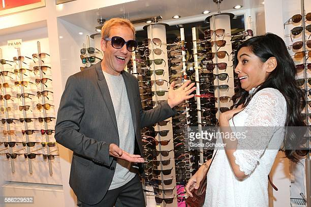Jahn Hahn and Collien UlmenFernandes during the late night shopping at Designer Outlet Soltau on August 5 2016 in Soltau Germany