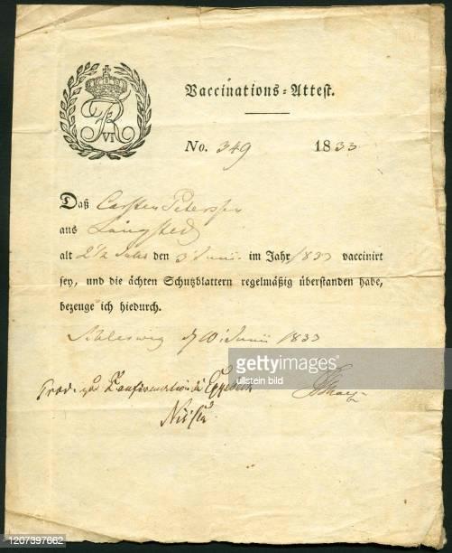 2 Jahre alt aus Langstedt wurde am 3 Juni 1833 gegen Pocken geimpft das Dokument wurde am 7 Juni 1833 ausgestellt _ Europe Germany SchleswigHolstein...