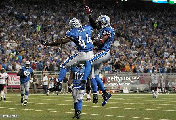 Jahvid Best of the Detroit Lions celebrates his third quarter touchdown with Nate Burleson while playing the Chicago Bears at Ford Field on October...