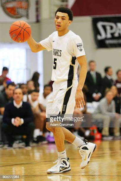 Jahvon Quinerly of Hudson Catholic High School driubbles in a game against John Carroll School during the 2018 Spalding Hoophall Classic at Blake...