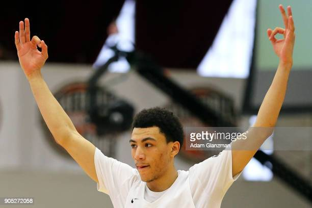 Jahvon Quinerly of Hudson Catholic High School reacts in a game against John Carroll School during the 2018 Spalding Hoopall Classic at Blake Arena...