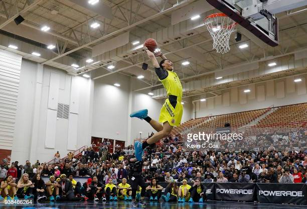 Jahvon Quinerly of Hudson Catholic Regional High School attempts a dunk during the 2018 McDonald's All American Game POWERADE Jam Fest at Forbes...