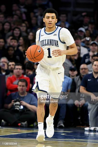 Jahvon Quinerly of the Villanova Wildcats dribble sup court during a college basketball game against the Seton Hall Pirates at the Wells Fargo Arena...