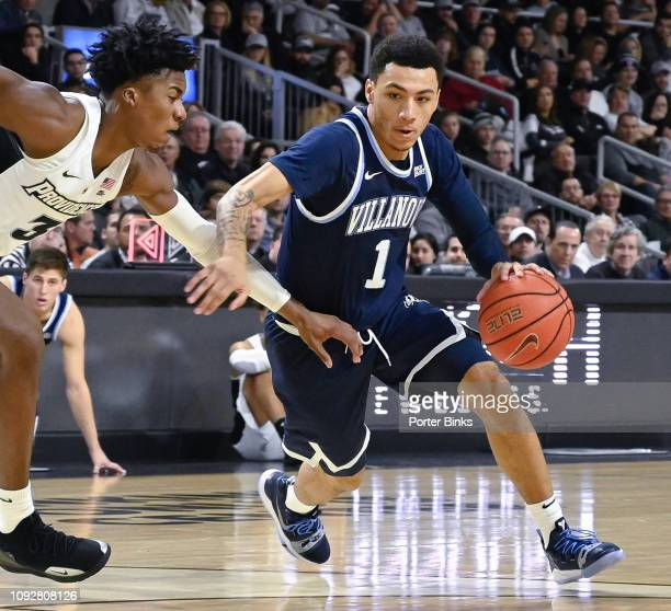 Jahvon Quinerly of the Villanova Wildcats dribbles the ball against the Providence Friars at Dunkin' Donuts Center on January 5 2019 in Providence RI