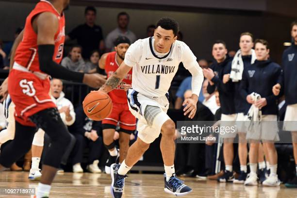 Jahvon Quinerly of the Villanova Wildcats dribbles up court during a college basketball game against the St John's Red Storm at the Finneran Pavilion...