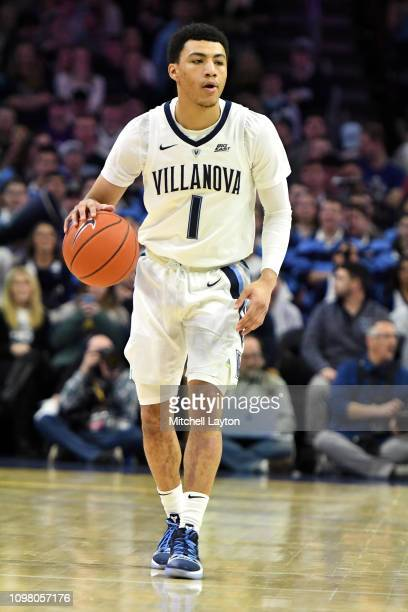 Jahvon Quinerly of the Villanova Wildcats dribbles up court during a college basketball game against the Xavier Musketeers at the Wells Fargo Center...