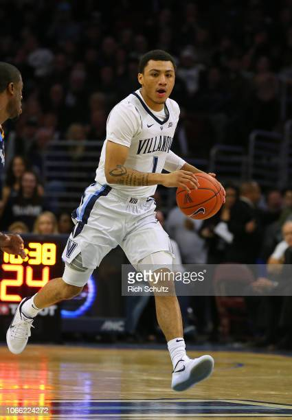 Jahvon Quinerly of the Villanova Wildcats in action against the Quinnipiac Bobcats during a game at Wells Fargo Center on November 10 2018 in...