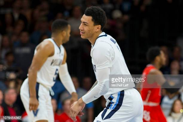 Jahvon Quinerly of the Villanova Wildcats reacts after missing a basket in the first half against the St John's Red Storm at Finneran Pavilion on...