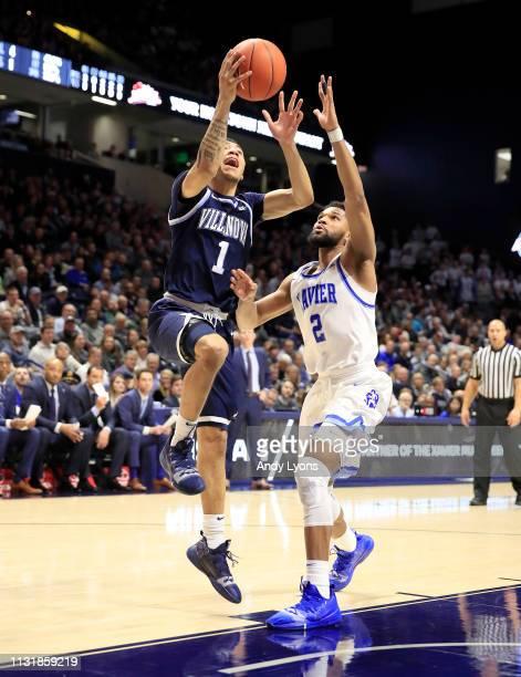 Jahvon Quinerly of the Villanova Wildcats shoots the ball against the Xavier Musketeers at Cintas Center on February 24 2019 in Cincinnati Ohio
