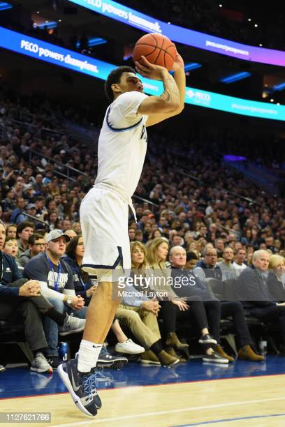Jahvon Quinerly of the Villanova Wildcats takes a jump shot during a college basketball game against the Georgetown Hoyas at the Wells Fargo Center...