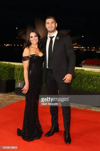 Jai Arrow and partner arrive at the 2018 Dally M Awards at Overseas Passenger Terminal on September 26 2018 in Sydney Australia