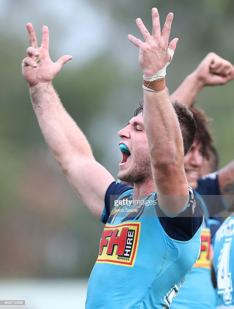Jai Arrow of the Titans celebrates his winning try during the round five NRL match between the Gold Coast Titans and the Manly Sea Eagles at Marley Brown Oval on April 8, 2018 in Gladstone, Australia.