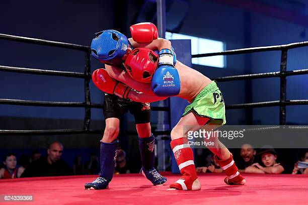 NOVEMBER 19 Jai Bowman and Orlando Nagy exchange fight during the Muay Thai fight in the Siam Junior show at Eagle sports complex on November 19 2016...