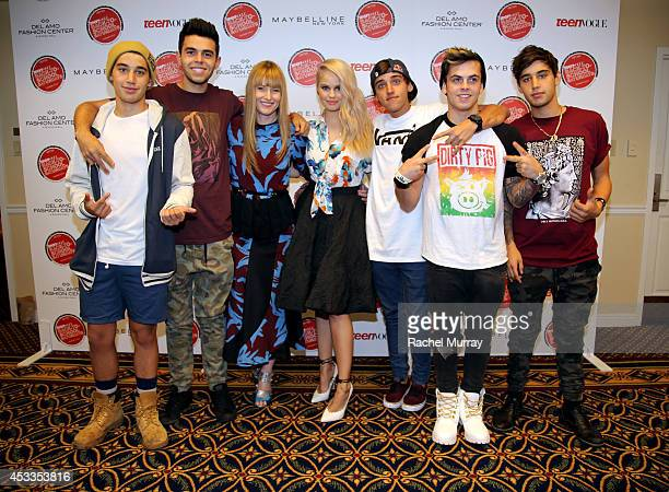 Jai Brooks and James Yammouni of The Janoskians Editorinchief of Teen Vogue Amy Astley host Debby Ryan Beau Brooks Daniel Sahyounie and Luke Brooks...