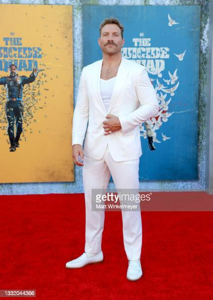 """Jai Courtney attends the Warner Bros. Premiere of """"The Suicide Squad"""" at Regency Village Theatre on August 02, 2021 in Los Angeles, California."""
