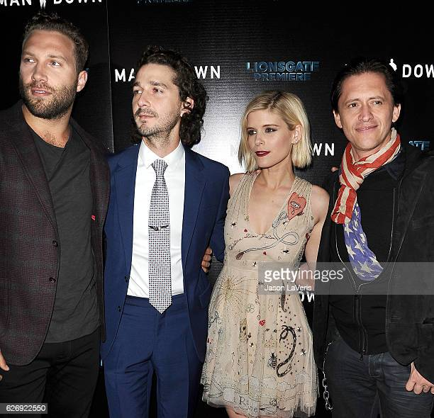 Jai Courtney Shia LaBeouf Kate Mara and Clifton Collins Jr attend the premiere of 'Man Down' at ArcLight Hollywood on November 30 2016 in Hollywood...