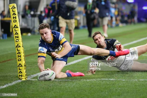 Jai Field of the Eels scores a try during the round eight NRL match between the Parramatta Eels and the North Queensland Cowboys at Bankwest Stadium...