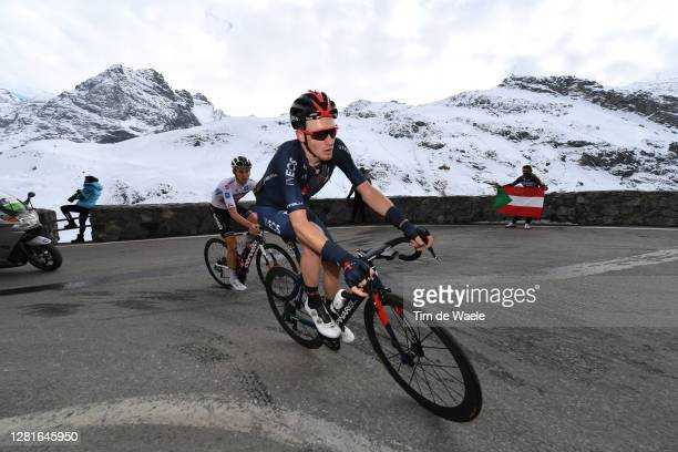 Jai Hindley of Australia and Team Sunweb White Best Young Rider Jersey / Tao Geoghegan Hart of The United Kingdom and Team INEOS Grenadiers / Passo...