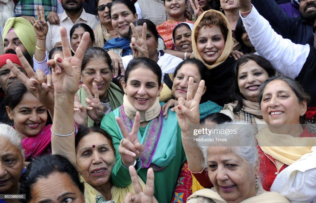 Jai Inder Kaur daughter of Capt Amarinder Singh celebrating after landslide victory in Punjab assembly elections on March 11 2017 in Amritsar India...