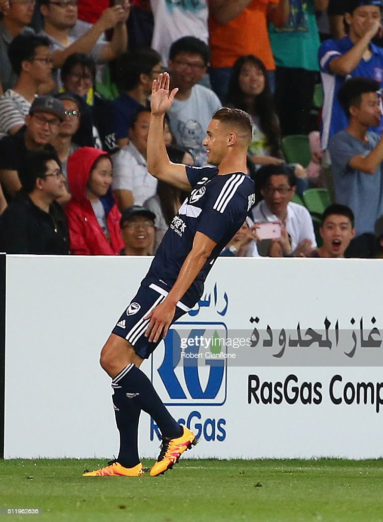 Jai Ingham of Melbourne Victory celebrates after scoring a goal during the AFC Asian Champions League match between Melbourne Victory and Shanghai Sipg at AAMI Park on February 24, 2016 in Melbourne, Australia.