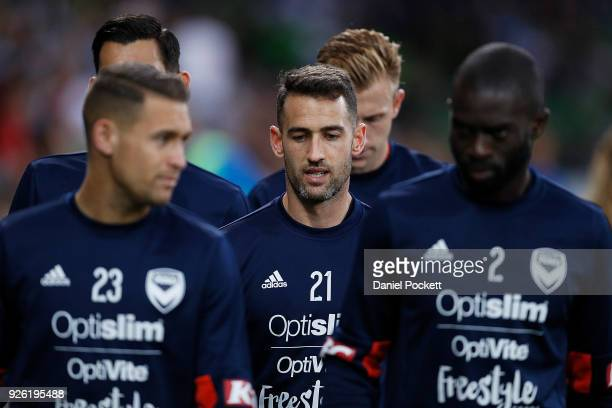 Jai Ingham of the Victory Carl Valeri of the Victory and Jason Geria of the Victory walk out during the round 22 ALeague match between Melbourne City...