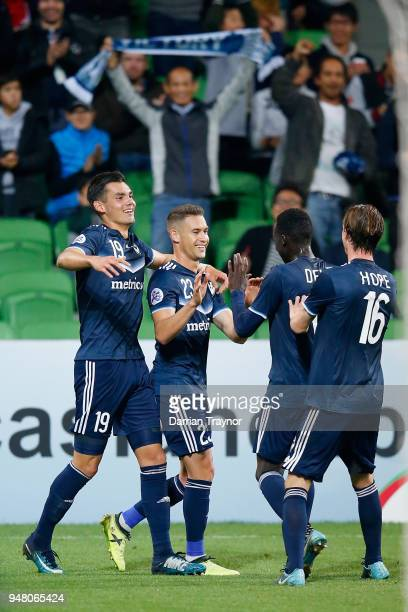 Jai Ingham of the Victory celebrates a goal during the AFC Champions League match between Melbourne Victory and Shanghai SIPG at AAMI Park on April...