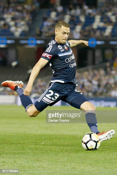 Jai Ingham of the Victory kicks the ball during the round six ALeague match between the Melbourne Victory and Brisbane Roar at Etihad Stadium on...