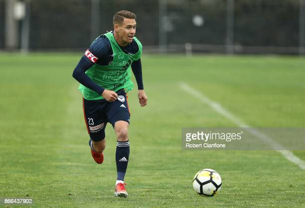Jai Ingham of the Victory runs with the ball during a Melbourne Victory ALeague training session at Gosch's Paddock on October 26 2017 in Melbourne...