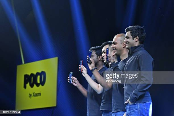 Jai Mani head of product for Poco Global at Xiaomi Corp from right Manu Jain global vice president at Xiaomi Alvin Tse head of Poco Global at Xiaomi...