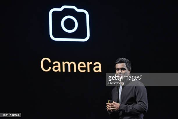 Jai Mani head of product for Poco Global at Xiaomi Corp speaks during a news conference to launch the Poco F1 smartphone in New Delhi India on...