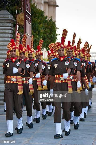 Jai Mewar ceremonial guard of 76th Maharana of Mewar His Highness Shriji Arvind Singh Mewar of Udaipur at the City Palace Rajasthan India