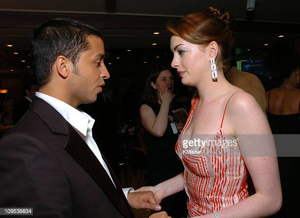 Jai Rodriguez and Anne Hathaway during Entertainment Industry Foundation's Colon Cancer Benefit on the QM2 Green Room at Queen Mary 2 in New York...