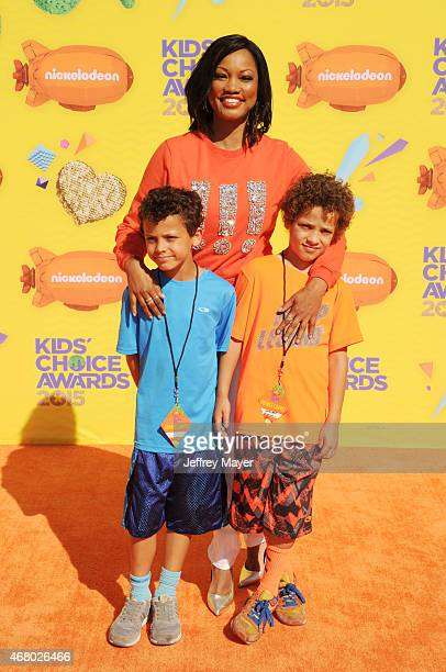 Jaid Thomas Nilon actress Garcelle Beauvais and Jax Joseph Nilon attend Nickelodeon's 28th Annual Kids' Choice Awards held at The Forum on March 28...