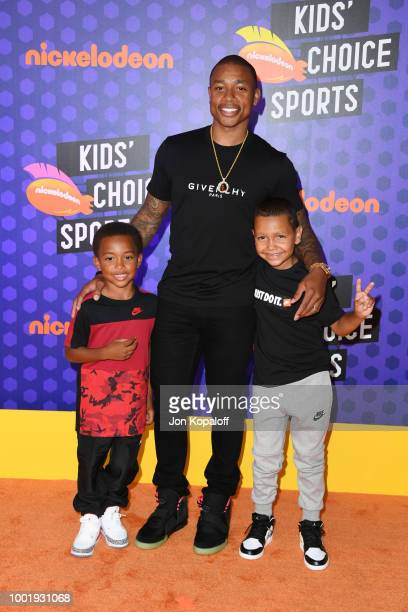 Jaiden Thomas NBA player Isaiah Thomas and James Thomas attend the Nickelodeon Kids' Choice Sports 2018 at Barker Hangar on July 19 2018 in Santa...