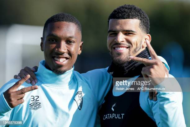 Jaidon Anthony and Dominic Solanke of Bournemouth during a training session at the Vitality Stadium on October 14, 2021 in Bournemouth, England.
