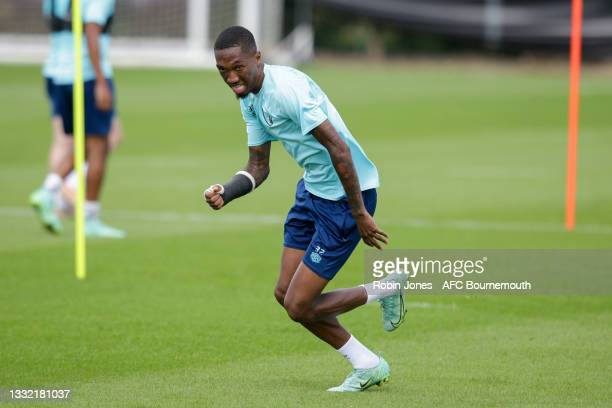 Jaidon Anthony of Bournemouth during a pre-season training session at Vitality stadium on August 03, 2021 in Bournemouth, England.