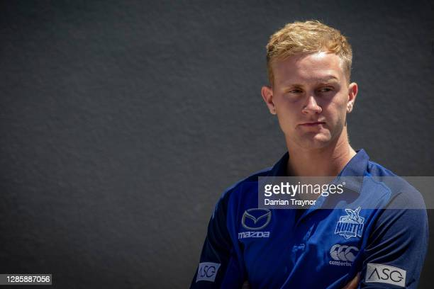 Jaidyn Stephenson looks on during a North Melbourne Kangaroos AFL media opportunity at Arden Street Ground on November 16, 2020 in Melbourne,...