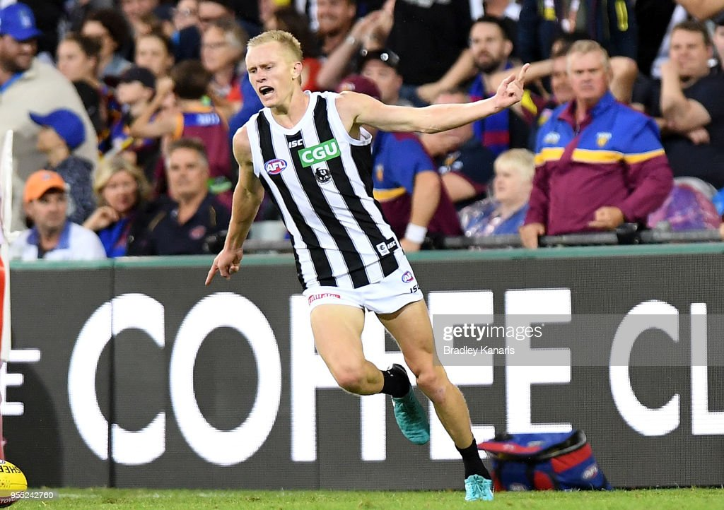 Jaidyn Stephenson of Collingwood celebrates kicking a goal during the round seven AFL match between the Brisbane Lions and the Collingwood Magpies at The Gabba on May 6, 2018 in Brisbane, Australia.