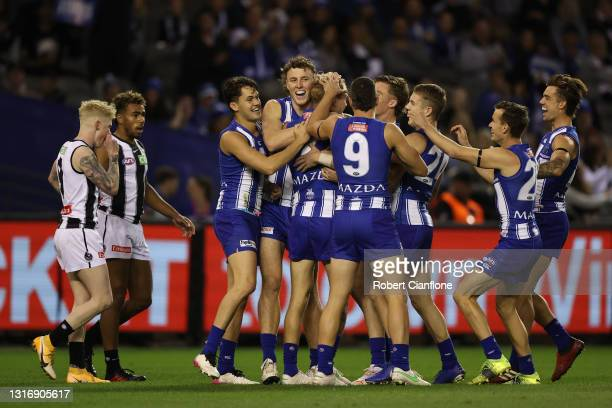 Jaidyn Stephenson of the Kangaroos celebrates after scoring a goal during the round eight AFL match between the North Melbourne Kangaroos and the...
