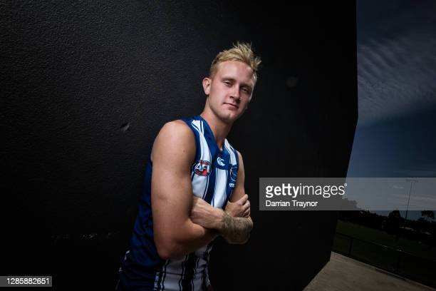 Jaidyn Stephenson poses for a photo during a North Melbourne Kangaroos AFL media opportunity at Arden Street Ground on November 16, 2020 in...