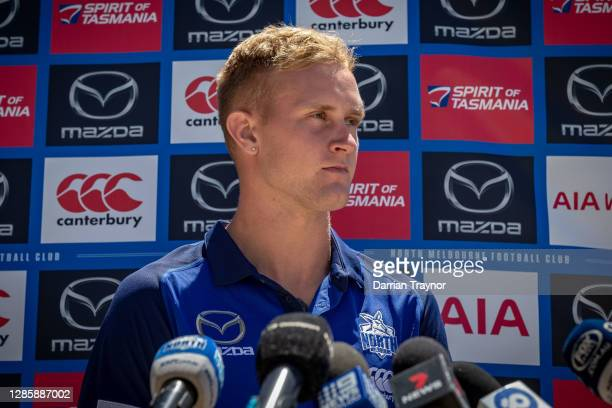 Jaidyn Stephenson speaks to the media during a North Melbourne Kangaroos AFL media opportunity at Arden Street Ground on November 16, 2020 in...