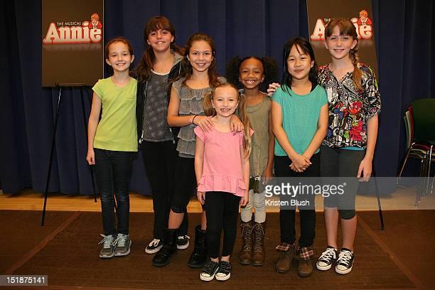 Jaidyn Young Georgie James Madi Rae Dipietro Tyrah Skye Odoms Junah Jang Emily Rosenfeld and Taylor Richardson attend the Annie Broadway Press...