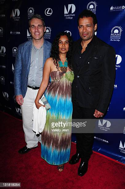 Jaie Laplante Chittra Sukhu and Mario Van Peebles attend the World Premiere of Things Fall Apart at the 2011 Miami International Film Festival at...